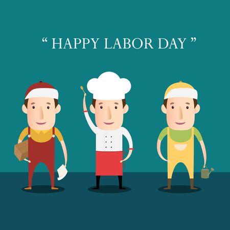 Cartoon Character Occupation For Labor Day. Ilustração