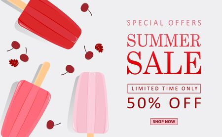 Illustration about fruit ice cream for summer sale