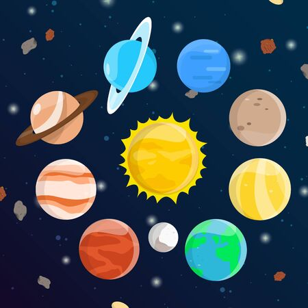 Illustration about the solar system of the universe