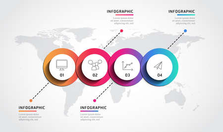 Infographic label design template with world map and 4 option Ilustración de vector