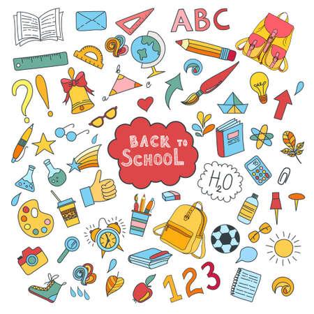 L'école et l'éducation griffonnent des symboles et des objets vectoriels dessinés à la main. Lettrage de retour à l'école Vecteurs