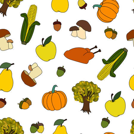Pattern on The Theme of Happy Thanksgiving Day with Harvest Sticker objects. Corn, Pumpkin, Turkey, Acorn, Tree, Apple, Pear