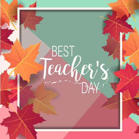 Happy Teacher's day - unique handdrawn poster with maple leaves and white frame. Vector art. Great typography design elements for congratulation cards, banners and flyers.  イラスト・ベクター素材