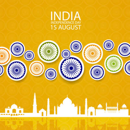 Indian independence day background with paper style Wheel Symbol and Taj Mahal flat building. Original design for decorative postcard, flyer, banner. Illustration