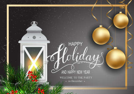 Holidays Greeting Card for Winter Happy Holidays. Fir-tree Branches frame with Lettering. Lantern with Candle, 3d Balls on background.Vector Lettering calligraphy for greeting card, poster, invitation Stock Illustratie