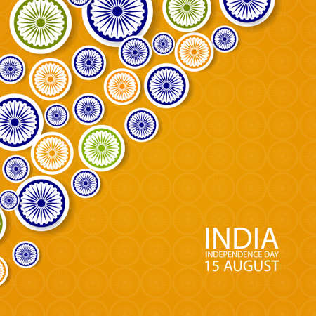 Indian independence day background with paper style Wheel Symbols. Original design for decorative postcard, flyer, banner.