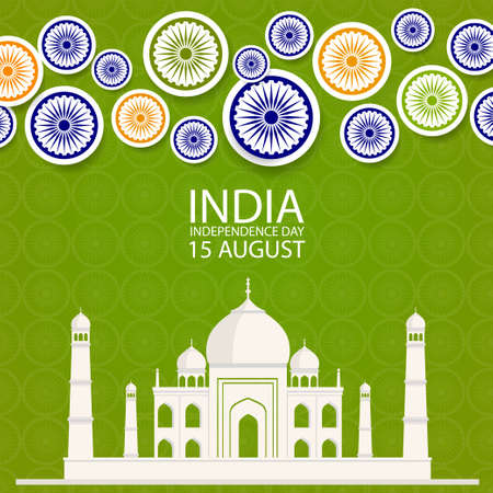 Indian independence day background with paper style Wheel Symbol and Taj Mahal flat building. Original design for decorative postcard, flyer, banner. Ilustracja