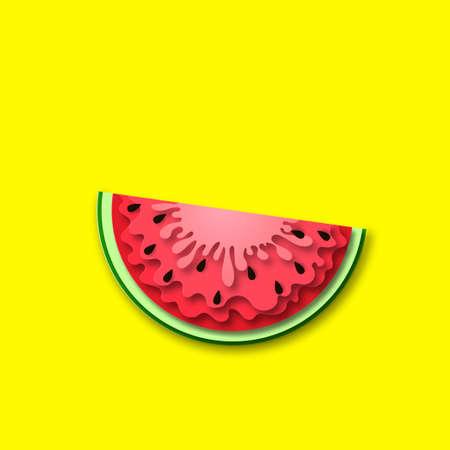 Sommerzeitbanner mit Wassermelonenstücken, helles Papierschnitt-Design. Ideal für Sommervorlagen, Flyer, Verkaufspostkarten, dekoratives Bannerdesign. Vektor Vektorgrafik