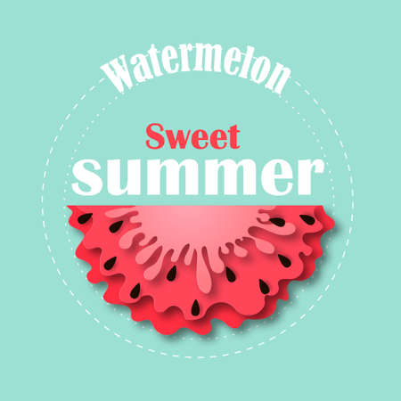 Watermelon icon in paper cut style. With black seeds. Vector Illustration isolated on white background. Template for decorative summer sale flyers, banners, cards.