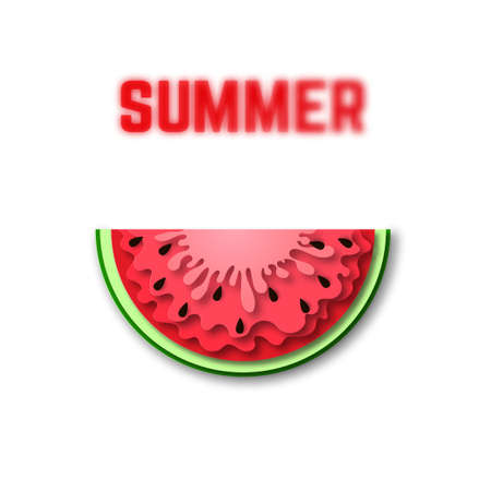 Watermelon icon in paper cut style. With blured summer lettering and black seeds. Vector Illustration isolated on white background. Template for decorative summer sale flyers, banners, cards. Ilustración de vector