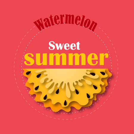 Watermelon yellow, icon in paper cut style. With black seeds. Vector Illustration isolated on white background. Template for decorative summer sale flyers, banners, cards.