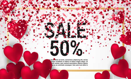 Sale with Valentine hearts abstract composition with 3D hearts and bantings. illustration. Love Lettering calligraphy in a heart shape.