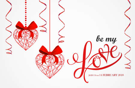 Red Geometric valentine hearts abstract composition. Vector illustration. Love Lettering vector calligraphy in a heart shape.