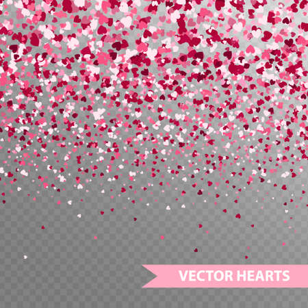 Happy Valentine's hearts Confetti. Seamless horizontal banner on transparent background 向量圖像