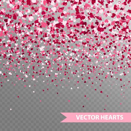 Happy Valentine's hearts Confetti. Seamless horizontal banner on transparent background Illustration