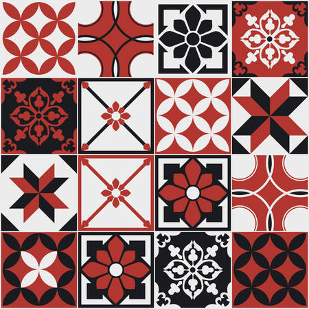 Seamless pattern of tiles. Vintage decorative design elements. Islam, Arabic, Indian, ottoman handdrawn motifs. Perfect for printing on fabric or paper. Red and black colors