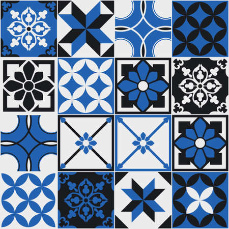 Seamless pattern of tiles. Vintage decorative design elements. Islam, Arabic, Indian, ottoman handdrawn motifs. Perfect for printing on fabric or paper. Blue and black colors