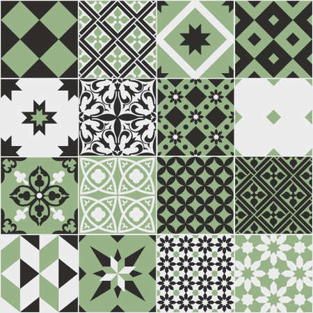 Seamless pattern of tiles. Vintage decorative design elements. Islam, Arabic, Indian, ottoman handdrawn motifs. Perfect for printing on fabric or paper. Green and black colors Vettoriali