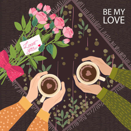 Fall in Love Couple, sitting around the table,drinking coffee.With rose bouquet and note Love you.Cute poster,14 th February card.Vector illustration of a couple in love. Flyers, invitation, poster, brochure, banner.