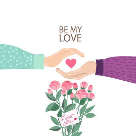 Fall in Love Couple Hands With rose bouquet and note Love you.Cute poster,14th February card.Vector illustration of a couple in love. Flyers, invitation, poster, brochure, banner.