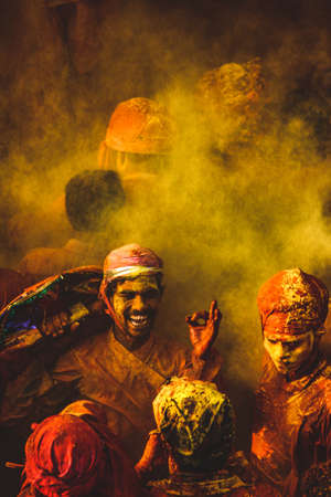People celebrating the Holi festival of colors in Babaras , India This image was taken on March 2018
