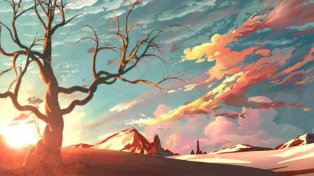 Illustration art work of a landscape mountain.