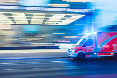 Speculator, NY - November 18, 2018: The Speculator, NY ambulance racing to a medical emergency at nigh