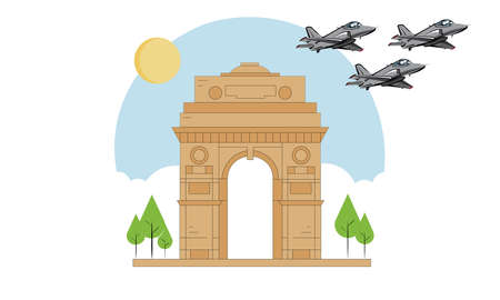 New Delhi : 03 May 2020 : A vector illustration of the famous India gate with three  Jet fighters. Illustration