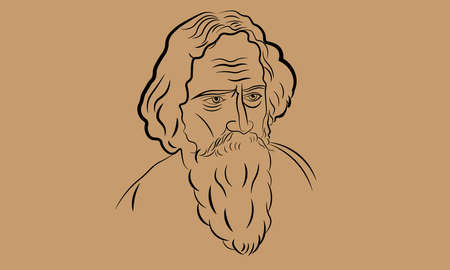 New Delhi : APRIL 2020 : A vector illustration of India's famous poet