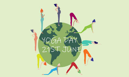 A vector illustration artwork of International Yoga Day. Vectores