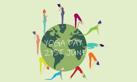 A vector illustration artwork of International Yoga Day. Illustration