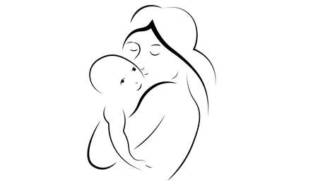 A vector illustration of a mother & her new bond baby child.