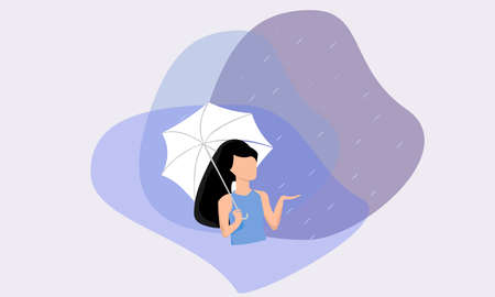 A vector illustration artwork of a woman with umbrella in the poring rain.