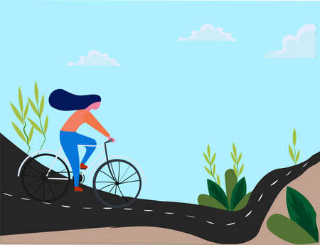 A vector illustration a girl riding bicycle