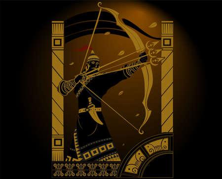 A vector illustration artwork of Indian ancient warrior Maharana Pratap. Illustration
