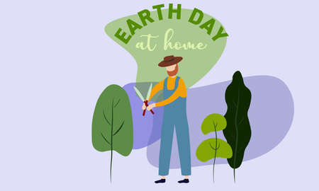 A vector illustration of a man Gardening his trees. Earth day concept Illustration