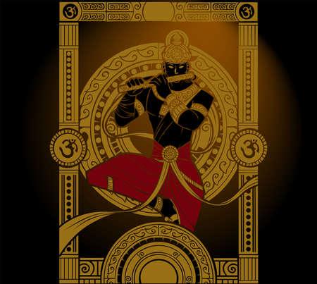 A illustration artwork of Hindu religion God Krishna Illustration