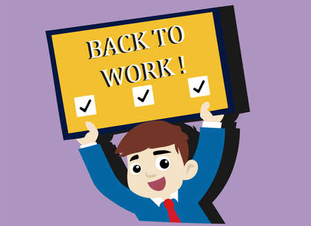 A vector illustration of back to work advertisement.