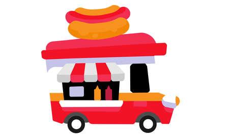 A vector illustration artwork of Hot Dog Truck . Fast food.