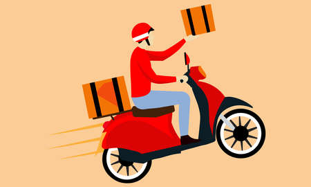 A delivery boy deliver good while riding on the motorcycle. Illustration