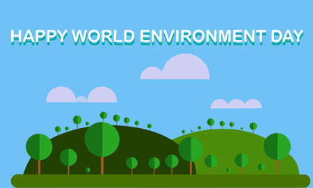 A illustration artwork of a spring landscape with trees and clouds. World Environment Day
