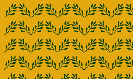 A illustration of  seamless leaf pattern on deep yellow background