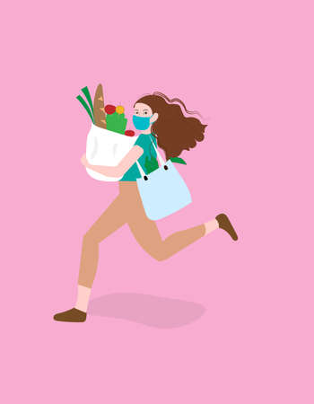 A illustration artwork of a girl carrying grocery bag