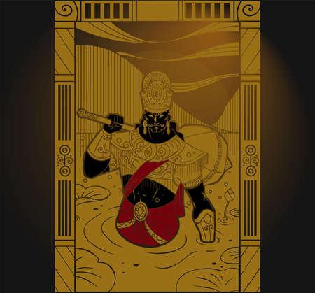 A vector illustration of Mahabharata warrior name Duryodhana also know as Suyodhana.