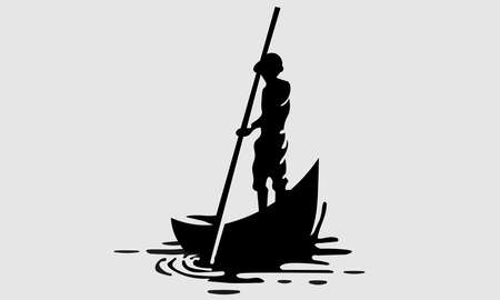 A vector illustration of a silhouette of a sailor sailing bot.