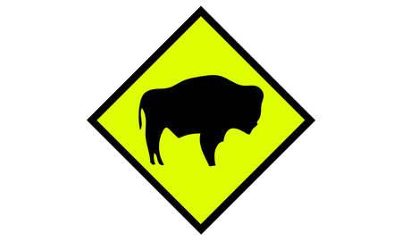 A vector illustration of buffalo road sign
