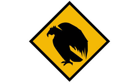 A vector illustration of eagle yellow road sign.