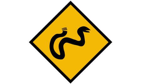 A vector illustration of snake road sign. Illustration