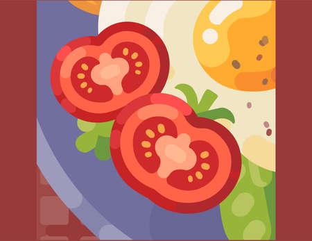 A vector illustration of tomato & egg omelet breakfast concept.