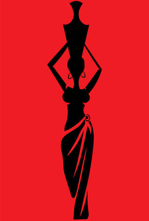 A vector illustration artwork of silhouette woman.